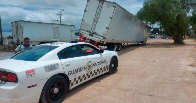 Recuperan caja de tráiler con balas robadas el 9 de junio en San Luis de la Paz.