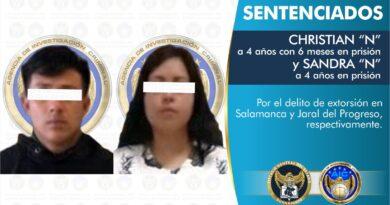 Por extorsionar a comerciantes en Salamanca y Jaral del Progreso pasarán 4 años en prisión.